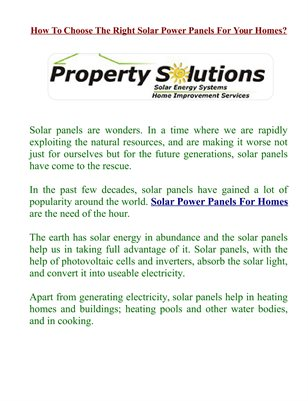 How To Choose The Right Solar Power Panels For Your Homes?