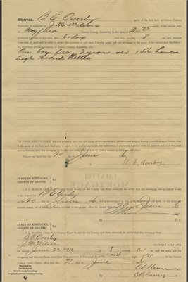1916 Chattel Mortgage, B.E. Overby to J.M. Wilson, Graves County, Kentucky