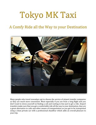 Tokyo MK Taxi: A Comfy Ride all the Way to your Destination