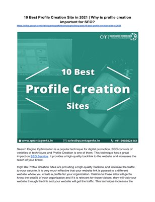 10 Best Profile Creation Site in 2021 | Why is profile creation important for SEO?