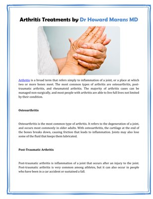 Arthritis Treatments by Dr Howard Marans MD
