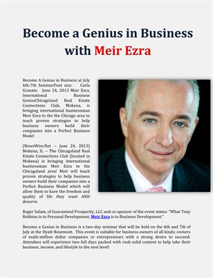 Become a Genius in Business with Meir Ezra