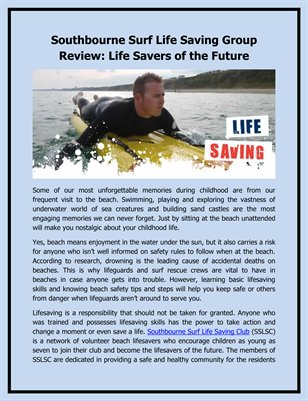 Southbourne Surf Life Saving Group Review: Life Savers of the Future