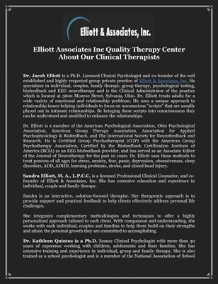 Elliott Associates Inc Quality Therapy Center About Our Clinical Therapists