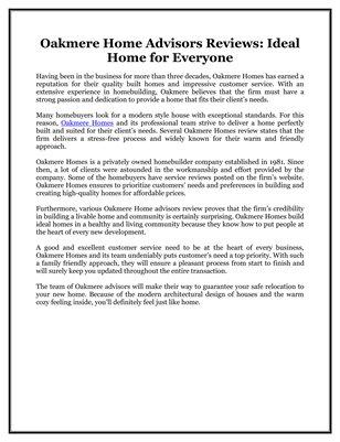 Oakmere Home Advisors Reviews: Ideal Home for Everyone