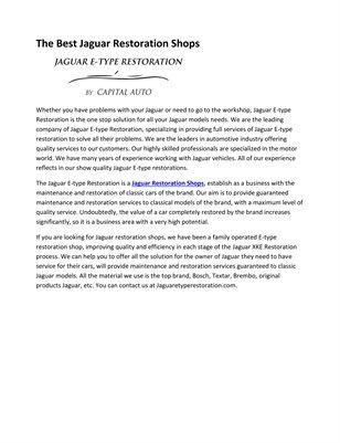 The Best Jaguar Restoration Shops