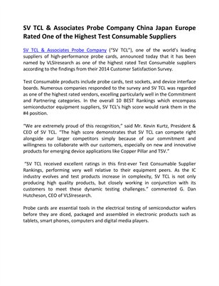 SV TCL & Associates Probe Company China Japan Europe Rated One of the Highest Test Consumable Suppliers