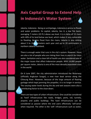 Axis Capital Group to Extend Help in Indonesia's Water System