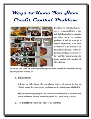 Ways to Know You Have Credit Control Problem