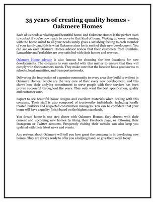 35 years of creating quality homes - Oakmere Homes