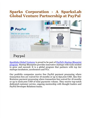 Sparks Corporation - A SparksLab Global Venture Partnership at PayPal