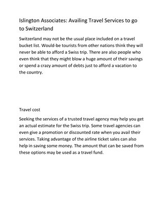 Islington Associates: Availing Travel Services to go to Switzerland