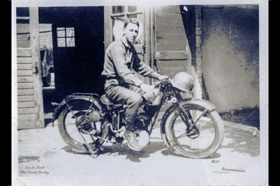 "WORLD WAR 2 SOLDIER ""DALE"" ON A EXPRESS MOTORCYCLE IN GERMANY"