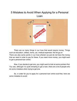 5 Mistakes to Avoid When Applying for a Personal Loan