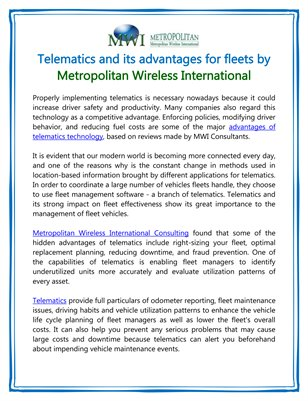Telematics and its advantages for fleets by Metropolitan Wireless International