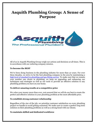 Asquith Plumbing Group: A Sense of Purpose