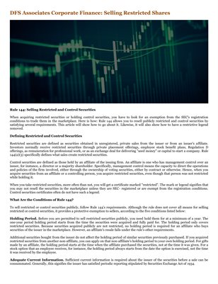 DFS Associates Corporate Finance: Selling Restricted Shares