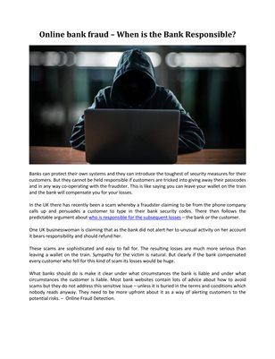 Online bank fraud – When is the Bank Responsible?