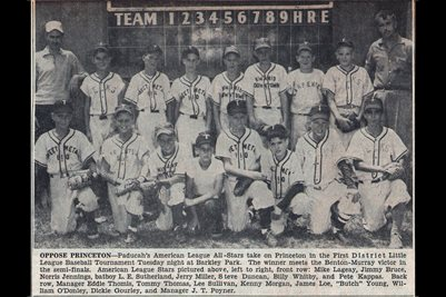 JULY 22,1956 PADUCAH'S AMERICAN LEAGUE ALL-STARS FIRST DISTRICT LITTLE LEAGUE BASEBALL