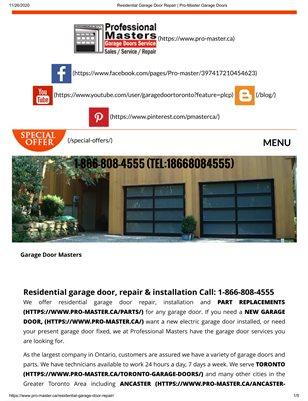 In Brampton The Best Residential Garage Door Opener | Pro-Master Garage Door Service