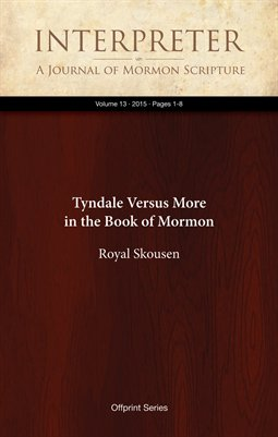Tyndale Versus More in the Book of Mormon