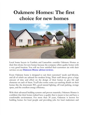 Oakmere Homes: The first choice for new homes