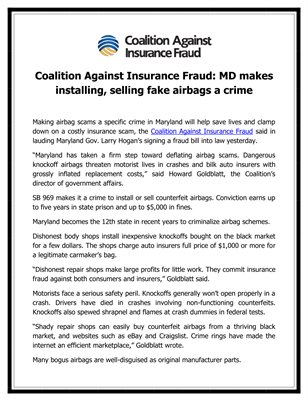 Coalition Against Insurance Fraud: MD makes installing, selling fake airbags a crime