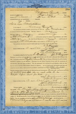 1923 State of Kentucky vs. Dora Lee Alexander, Graves County, Kentucky