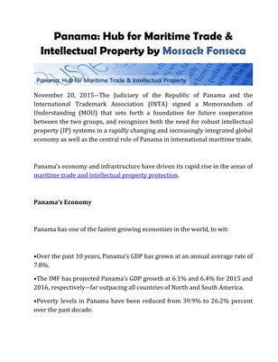 Panama: Hub for Maritime Trade & Intellectual Property by Mossack Fonseca