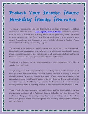 Protect Your Income: Insure Disability Income Insurance