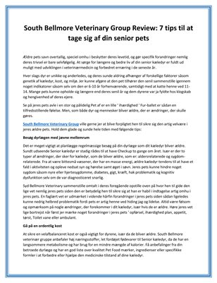 South Bellmore Veterinary Group Review: 7 tips til at tage sig af din senior pets