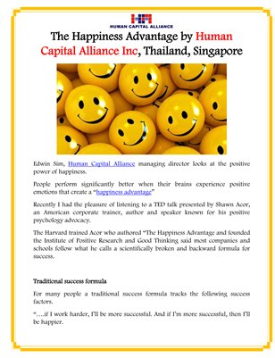 The Happiness Advantage by Human Capital Alliance Inc, Thailand, Singapore