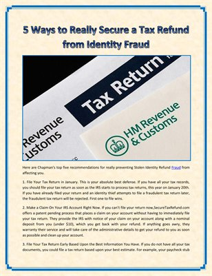 5 Ways to Really Secure a Tax Refund from Identity Fraud