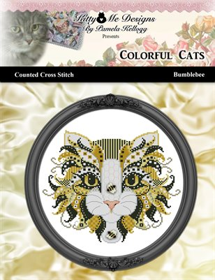 Colorful Cats Bumblebee Counted Cross Stitch Pattern