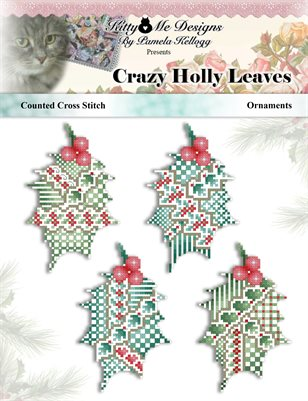 Crazy Holly Leaves Ornaments Counted Cross Stitch Pattern