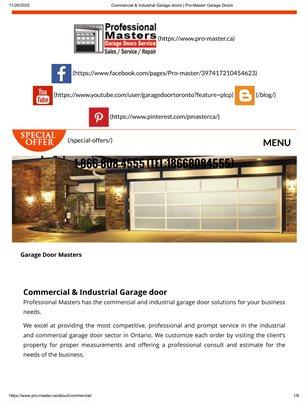 Brampton Pro-Master Garage Door Service | Best  Commercial and Industrial Garage Doors Openers  & Repairs