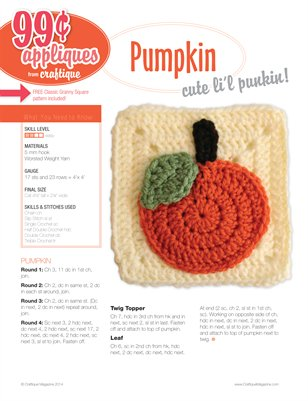 Craftique Crochet - Pumpkin Applique