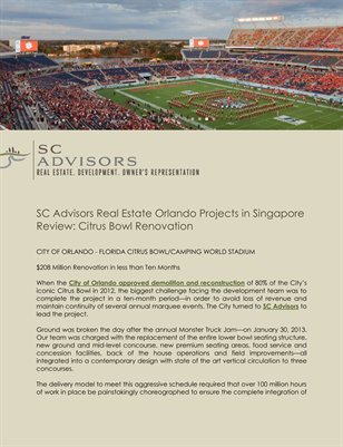 SC Advisors Real Estate Orlando Projects in Singapore Review: Citrus Bowl Renovation