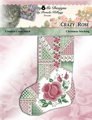 Crazy Rose Christmas Stocking Cross Stitch Pattern