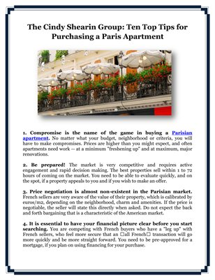 The Cindy Shearin Group: Ten Top Tips for Purchasing a Paris Apartment