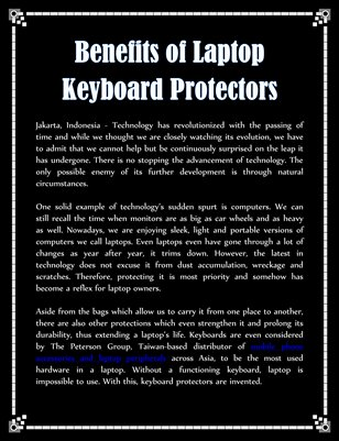 Benefits of Laptop Keyboard Protectors
