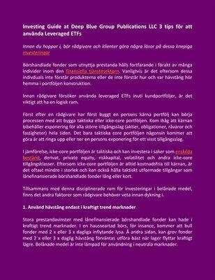 Investing Guide at Deep Blue Group Publications LLC 3 tips för att använda Leveraged ETFs