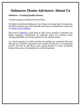 Oakmere Home Advisors: About Us