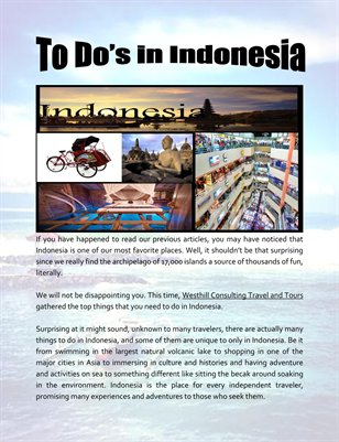 To Do's in Indonesia