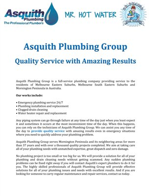 Asquith Plumbing Group: Quality Service with Amazing Results