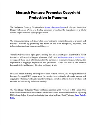 Mossack Fonseca Promotes Copyright Protection in Panama