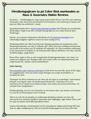 Försäkringsgivare ta på Cyber Risk marknaden av Hass & Associates Online Reviews