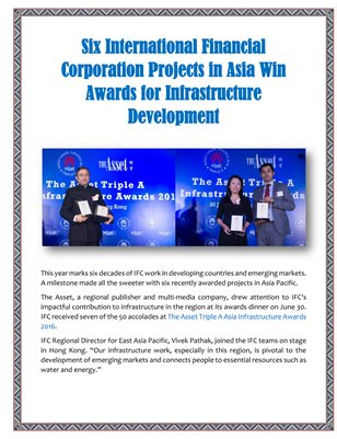 Six International Financial Corporation Projects in Asia Win Awards for Infrastructure Development
