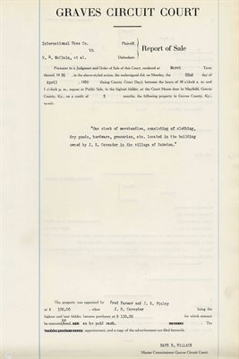 1935 COMMISSIONERS REPORT OF SALES, E.H. MCCLAIN, et, al.