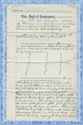(PAGES 1-2) 1885 Ballard County, Kentucky, C. & H.B. Deweese to Deed John C. Dungey